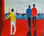 Promeneurs au port - 46 x 38 cm